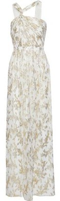 Rachel Zoe Twist-front Metallic Fil Coupe Silk-blend Chiffon Gown