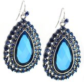 Charter Club Silver-Tone Drop Earrings with Blue faceted plastic bead and crystal details