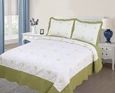 3PC Quilted / Embroidered Bedspread - Sage (Queen Size)