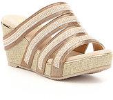 Volatile Sensation Fabric Multi Strap Stone Embellished Slip On Wedge Sandals