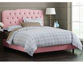 Skyline Furniture Surrey Queen Shantung-Upholstered Tufted Bed, Woodrose