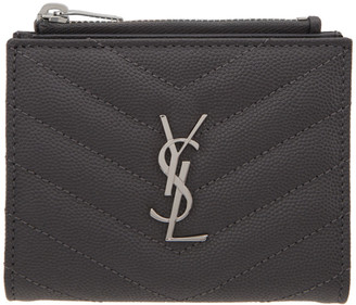 Saint Laurent Grey Quilted Monogramme Wallet
