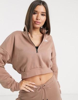 Nike Essentials beige cropped high neck sweatshirt