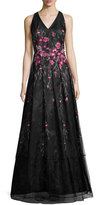 Kay Unger New York Sleeveless Pleated Floral Tulle Gown, Black/Pink