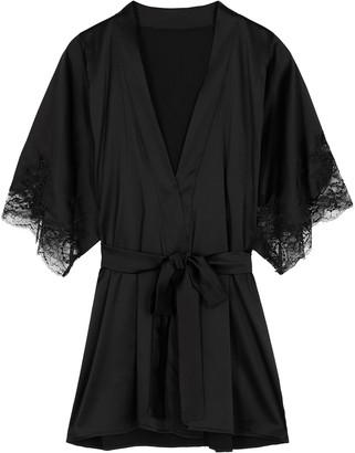 Fleur of England Signature Black Silk-blend Robe