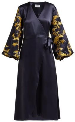 Osman Embroidered Satin Wrap Dress - Navy Gold