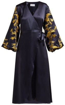 Osman Embroidered Satin Wrap Dress - Womens - Navy Gold