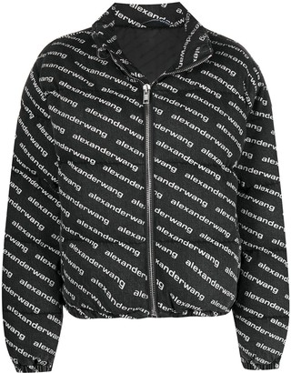 Alexander Wang Logo-Print Zip-Up Jacket
