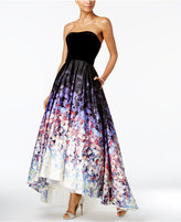Betsy & Adam Strapless Velvet Printed High-Low Gown