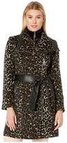 Vince Camuto Belted Asymmetrical Zip Wool Coat with Bib V29763A (Leopard) Women's Coat