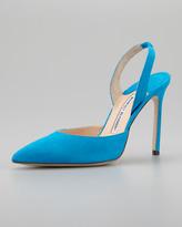 Manolo Blahnik Carolyne Suede High-Heel Halter, Blue