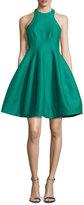 Halston Sleeveless Structured Faille Tulip Dress, Emerald