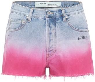 Off-White High-rise ombrA denim shorts