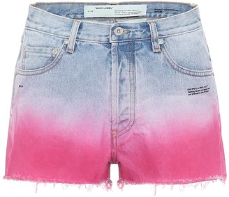 Off-White High-rise ombre denim shorts