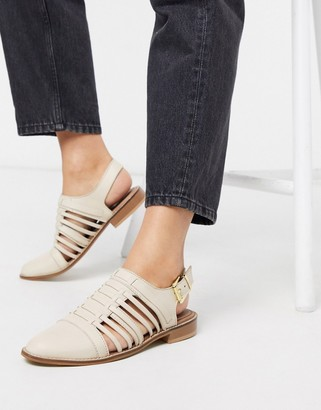 MONICA ASOS DESIGN leather woven flat shoes in bone