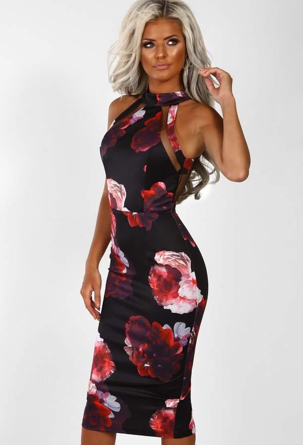 53a521b5 Black Bodycon Dress Mesh Panel - ShopStyle UK