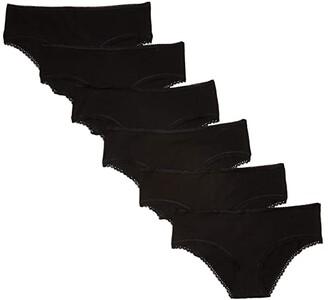 Pact Organic Cotton Cheeky Hipster 6-Pack (Black) Women's Underwear