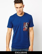 Bite By Dent De Man T-Shirt With Patterned Patch Pocket - Blue