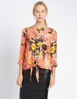 Marks and Spencer Floral Print Tie Front Jersey Top
