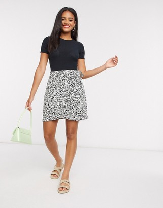 New Look floral wrap mini skirt in floral print