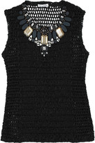 Crochet-embellished top
