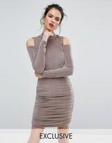 Club L Ribbed Velvet Mini Dress with Cold Shoulder