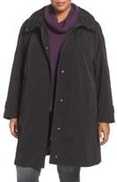 Gallery Plus Size Women's Water Repellent Silk Look Rain Coat