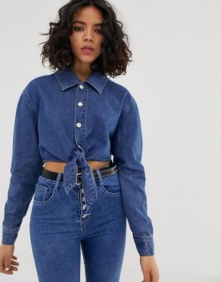 Fae FAE tie up off shoulder shirt-Blue