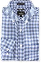 Neiman Marcus Trim-Fit Pinwheel-Check Dress Shirt, Navy