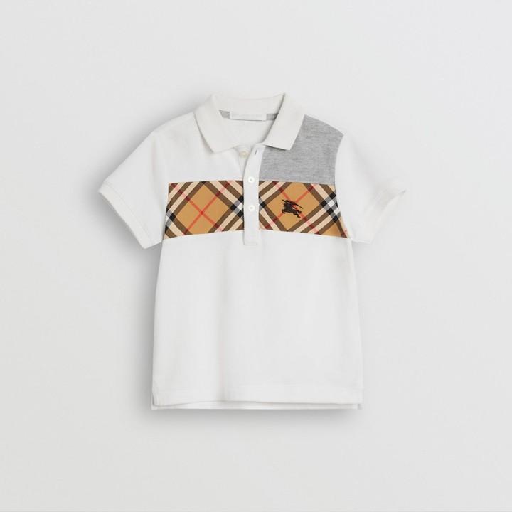 Burberry Vintage Check Panel Cotton Polo Shirt