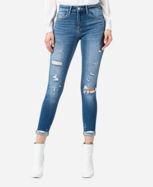 Flying Monkey Mid Rise Roll Up Distressed Skinny Crop Jeans