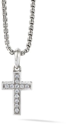 David Yurman The Pave Collection Cross Diamond & Sterling Silver Enhancer Pendant