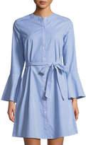 Neiman Marcus Bell-Sleeve A-line Striped Shirtdress