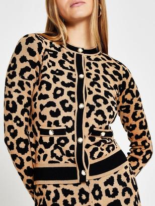 River Island Leopard Print Button Detail Cardigan - Brown