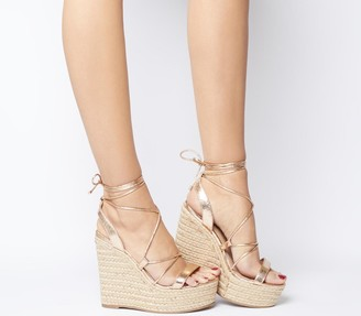 Office Hula Ghillie Chunky Wedges Rose Gold