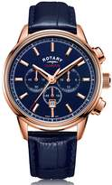 Rotary Watches Mens Rose Gold Pvd Cambridge Watch Blue Dial