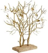 Pier 1 Imports Golden Trees Sculpture on Wooden Base