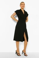 Thumbnail for your product : boohoo Belted Wrap Front Sleeveless Blazer Dress