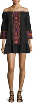 Nightcap Clothing Santorini Off-The-Shoulder Embroidered Dress, Black