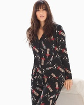 Soma Intimates Long Sleeve Notch Collar Pajama Top Cheers To Us Black