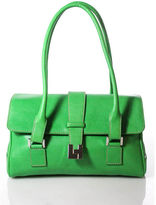 Lambertson Truex Bright Green Leather Silver Tone Fold Over Shoulder Bag RHB21