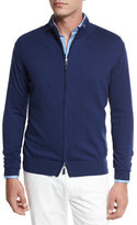 Peter Millar Crown Soft Full-Zip Sweater, Navy