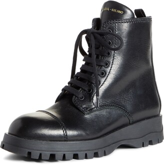 Prada Lace-Up Combat Boot