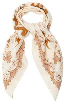 Acne Studios Floral-print Cotton-blend Scarf - Beige Multi