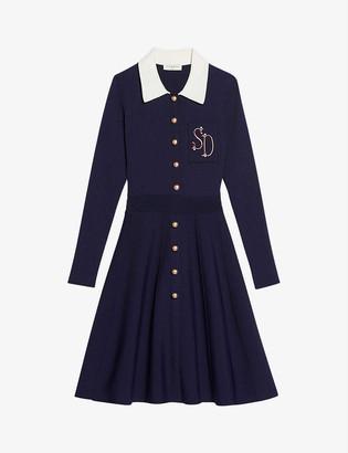 Sandro Logo-embroidered cotton-blend polo mini dress