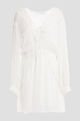 IRO Studded Lace-up Chiffon Mini Dress