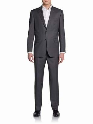 Saks Fifth Avenue Classic-Fit Pinstripe Wool Silk Suit