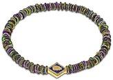 Luis Morais 14ct Yellow Gold Blue Enameled Scarab Lozenge Beaded Bracelet