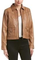 Bernardo Pointed-collar Leather Jacket.