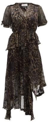 Preen by Thornton Bregazzi Esther V-neck Leopard Print Devore Dress - Leopard